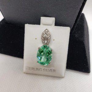 Jewelry - Ocean Blue Topaz Pendant w Sterling Silver Chain